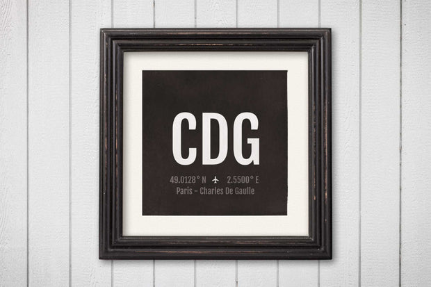 Paris Airport Code Print - CDG Aviation Art - France Airplane Nursery Poster