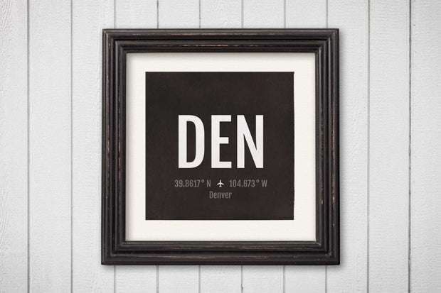 Denver Airport Code Print - DEN Aviation Art - Colorado Airplane Nursery Poster