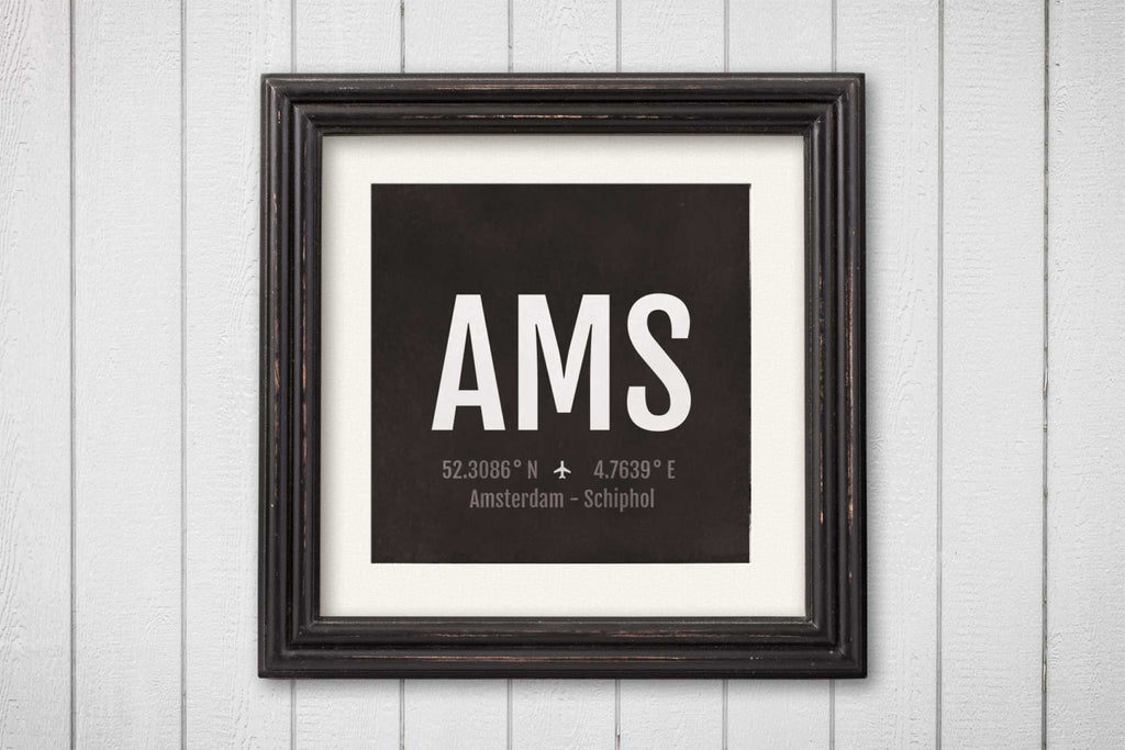 Amsterdam Airport Code Print - AMS Aviation Art - Netherlands Airplane Nursery Poster