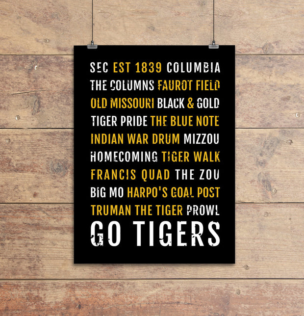 Missouri Tigers Subway Poster