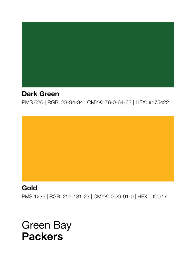 Green Bay Packers Colors - Team Color Codes