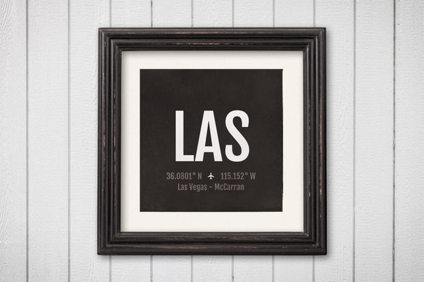 Las Vegas Airport Code Print - LAS Aviation Art - Nevada Airplane Nursery Poster