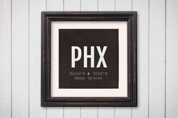 Phoenix Airport Code Print - PHX Aviation Art - Arizona Airplane Nursery Poster