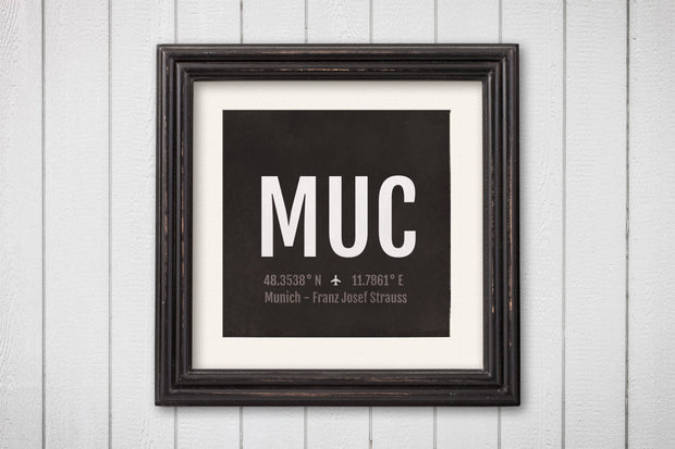 Munich Airport Code Print - MUC Aviation Art - Germany Airplane Nursery Poster
