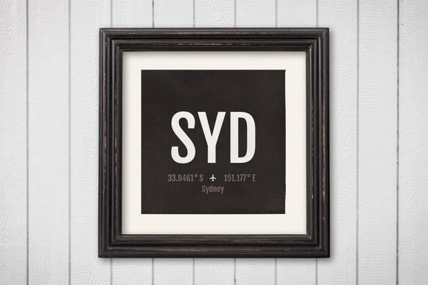 Sydney Airport Code Print - SYD Aviation Art - Australia Airplane Nursery Poster