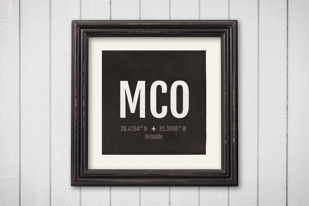 Orlando Airport Code Print - MCO Aviation Art - Florida Airplane Nursery Poster