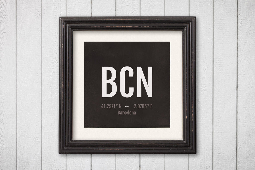 Barcelona Airport Code Print - BCN Aviation Art - Spain Airplane Nursery Poster