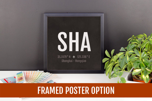 Shanghai Airport Code Print - SHA Aviation Art - China Airplane Nursery Poster