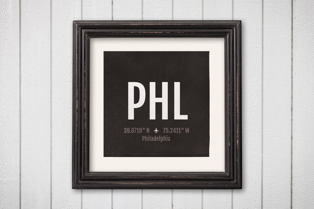 Philadelphia Airport Code Print - PHL Aviation Art - Pennsylvania Airplane Nursery Poster