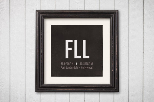 Fort Lauderdale Hollywood Airport Code Print - FLL Aviation Art - Florida plane Nursery Poster