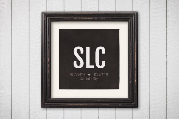 Salt Lake City Airport Code Print - SLC Aviation Art - Utah Airplane Nursery Poster