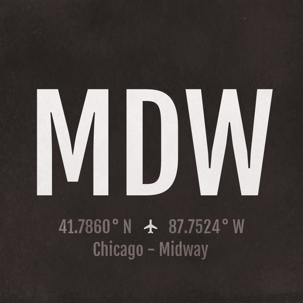 Chicago Midway MDW Airport Code Print
