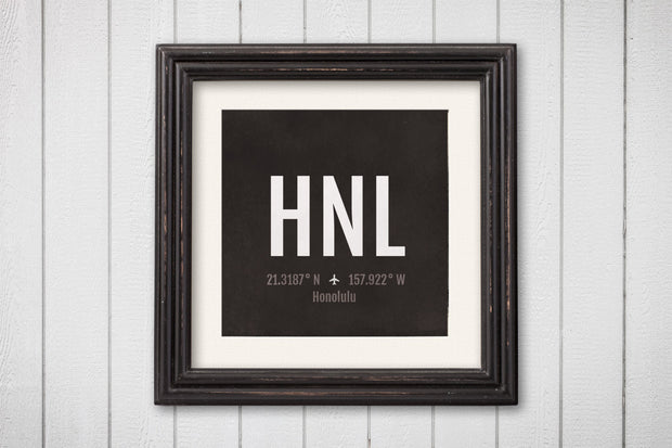 Honolulu Airport Code Print - HNL Aviation Art - Hawaii Airplane Nursery Poster