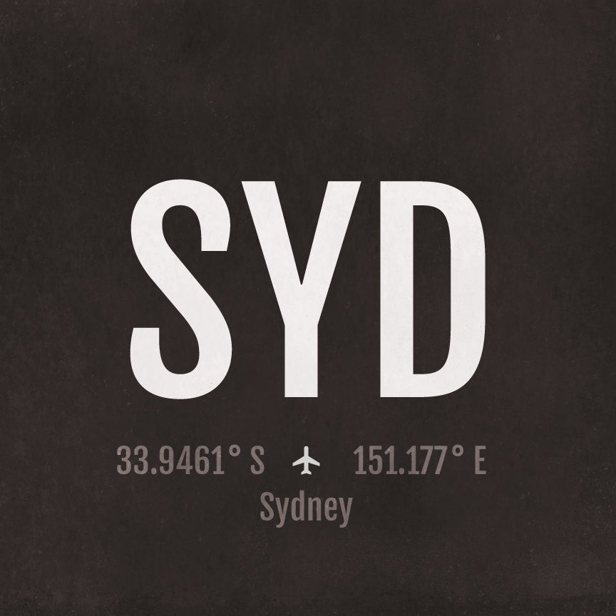 Sydney SYD Airport Code Print