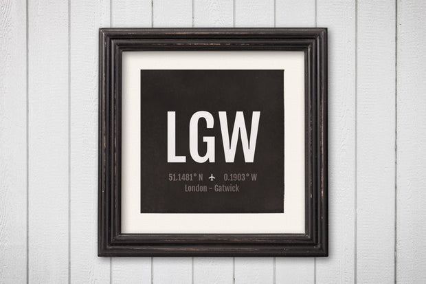 London Airport Code Print - LGW Aviation Art - UK England Airplane Nursery Poster