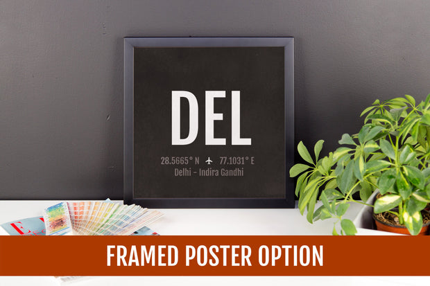 Delhi Airport Code Print - DEL Aviation Art - India Airplane Nursery Poster