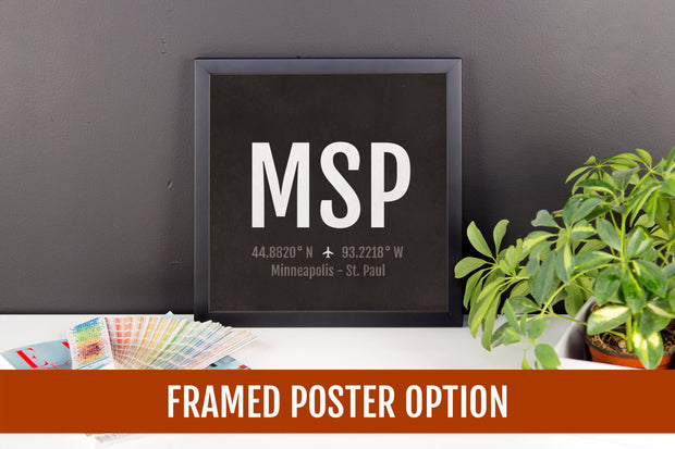 Minneapolis Airport Code Print - MSP Aviation Art - Minnesota Airplane Nursery Poster