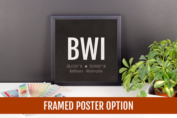 Baltimore Airport Code Print - BWI Aviation Art - Maryland Airplane Nursery Poster