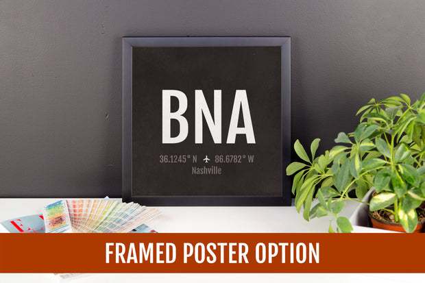 Nashville Airport Code Print - BNA Aviation Art - Tennessee Airplane Nursery Poster