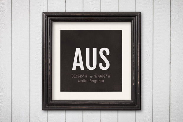 Austin Airport Code Print - AUS Aviation Art - Texas Airplane Nursery Poster