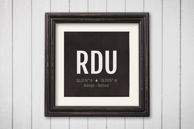 Raleigh Airport Code Print - RDU Aviation Art - North Carolina Airplane Nursery Poster