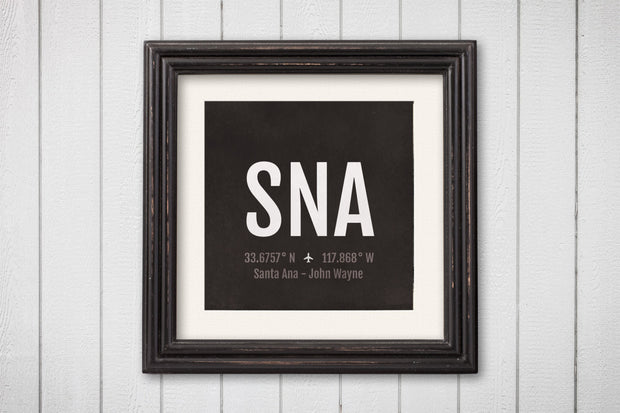 Santa Ana Airport Code Print - SNA Aviation Art - California Airplane Nursery Poster