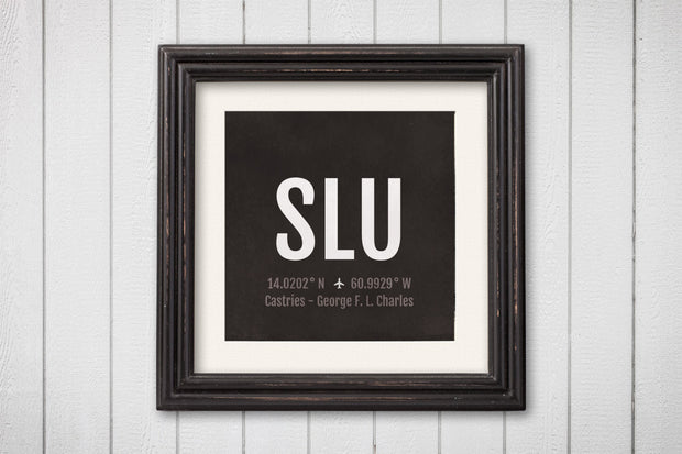 Castries Airport Code Print - SLU Aviation Art - St. Lucia Airplane Nursery Poster