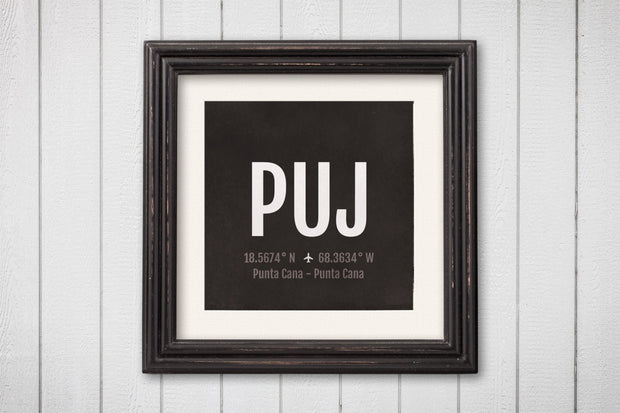 Punta Cana Airport Code Print - PUJ Aviation Art - Dominican Republic Airplane Nursery Poster