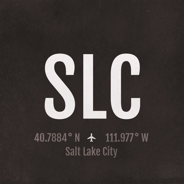 Salt Lake City SLC Airport Code Print