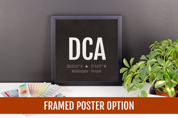 Washington DC Airport Code Print - DCA Aviation Art - Airplane Nursery Poster