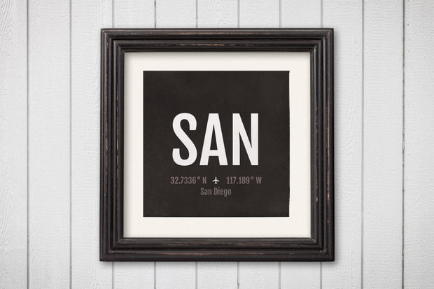 San Diego Airport Code Print - SAN Aviation Art - California Airplane Nursery Poster