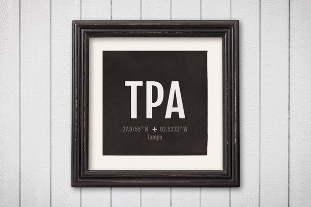Tampa Airport Code Print - TPA Aviation Art - Florida Airplane Nursery Poster