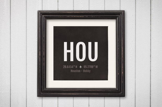 Houston Airport Code Print - HOU Aviation Art - Texas Airplane Nursery Poster