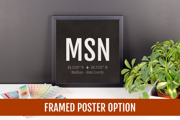 Madison Airport Code Print - MSN Aviation Art - Wisconsin Airplane Nursery Poster