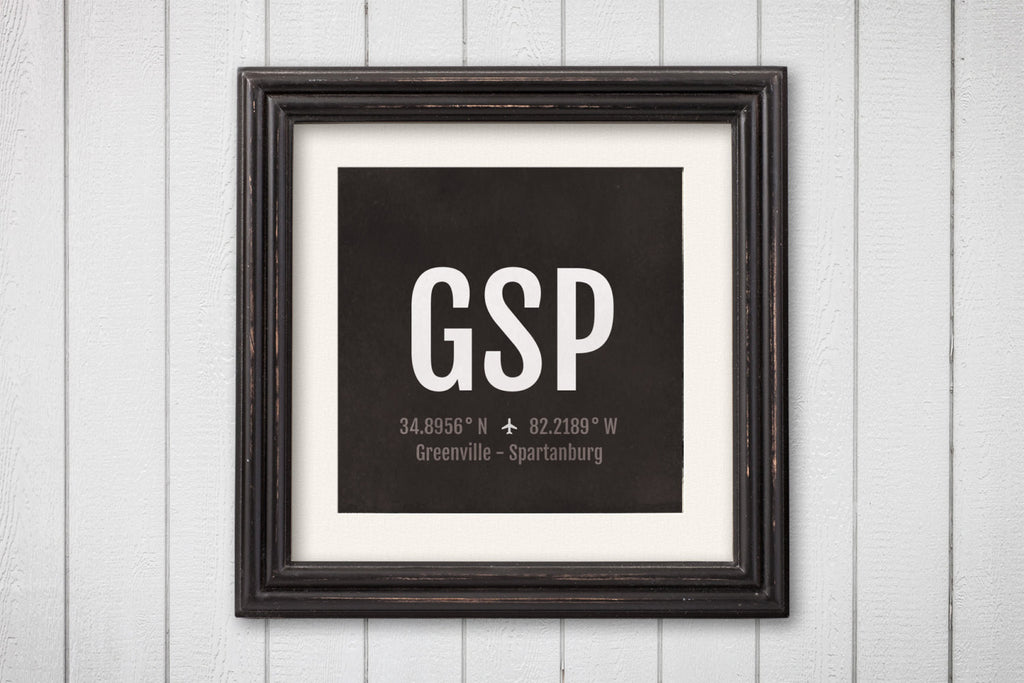Greenville Airport Code Print - GSP Aviation Art - South Carolina Airplane Nursery Poster