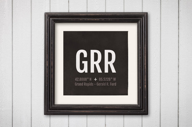 Grand Rapids Airport Code Print - GRR Aviation Art - Michigan Airplane Nursery Poster