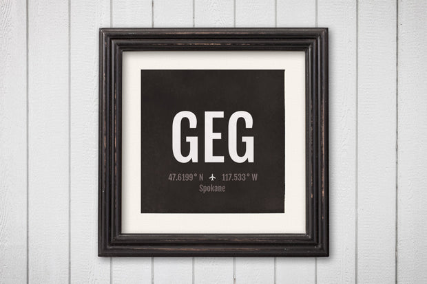 Spokane Airport Code Print - GEG Aviation Art - Washington Airplane Nursery Poster