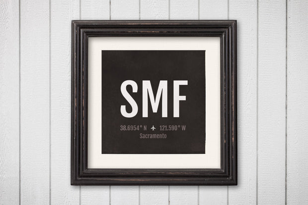 Sacramento Airport Code Print - SMF Aviation Art - California Airplane Nursery Poster