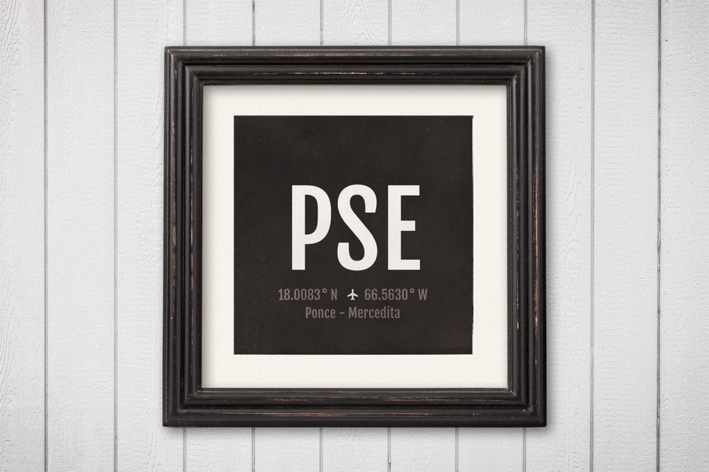 Ponce Airport Code Print - PSE Aviation Art - Puerto Rico Airplane Nursery Poster