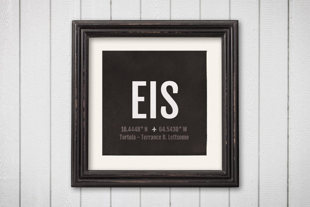 Tortola Airport Code Print - EIS Aviation Art - British Virgin Islands BVI Airplane Nursery Poster
