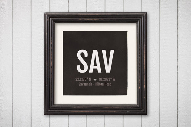 Savannah Airport Code Print - SAV Aviation Art - Georgia Airplane Nursery Poster