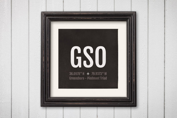 Greensboro Airport Code Print - GSO Aviation Art - North Carolina Airplane Nursery Poster