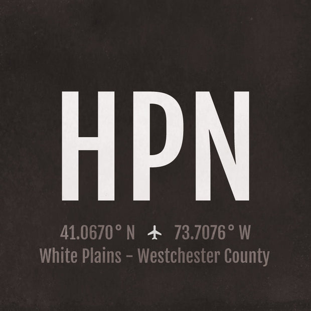White Plains Westchester HPN Airport Code Print