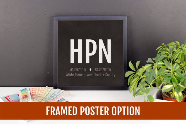 White Plains Westchester Airport Code Print - HPN Aviation Art - New York Airplane Nursery Poster