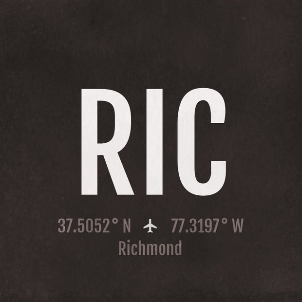 Richmond RIC Airport Code Print