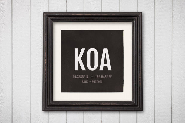 Kona Airport Code Print - KOA Aviation Art - Hawaii Airplane Nursery Poster