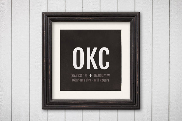 Oklahoma City Airport Code Print - OKC Aviation Art - Oklahoma Airplane Nursery Poster