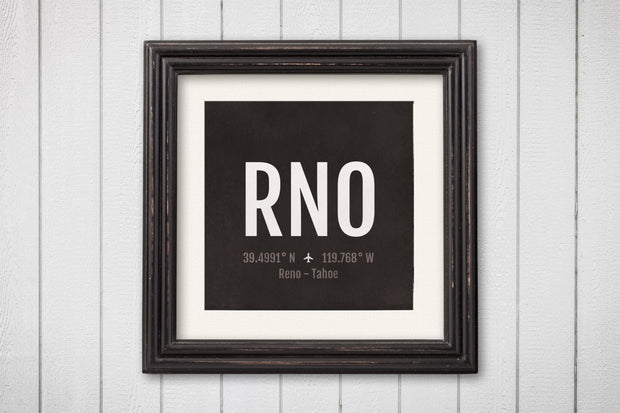 Reno Tahoe Airport Code Print - RNO Aviation Art - Nevada Airplane Nursery Poster