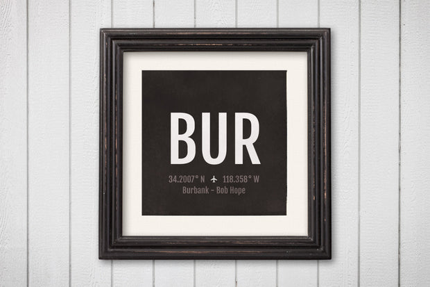 Burbank Airport Code Print - BUR Aviation Art - California Airplane Nursery Poster