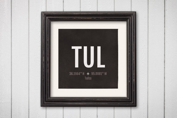 Tulsa Airport Code Print - TUL Aviation Art - Oklahoma Airplane Nursery Poster